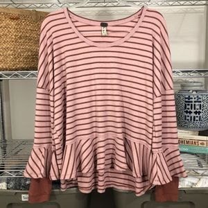 FREE PEOPLE round about striped peplum thermal top